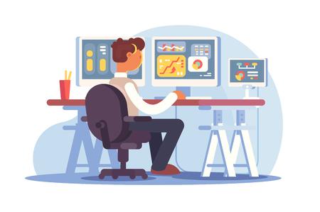 Przedsiębiorca giełdowy siedzi w miejscu pracy ilustracji wektorowych. Młody mężczyzna patrzący na wykresy, diagramy, wykresy, indeksy i liczby na wielu ekranach komputerów w biurze handlowców