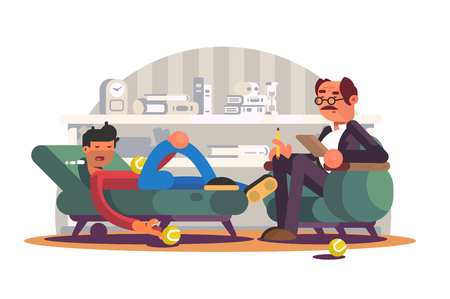 Psychologist having session with depressed patient. Boy lying on sofa and talking about depression with specialist flat style concept. Psychological help in difficult life situation