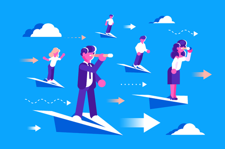 Man and woman flying on paper airplanes vector illustration. Business team looking to the future via spyglasses flat style design. Planning and prospect concept 向量圖像