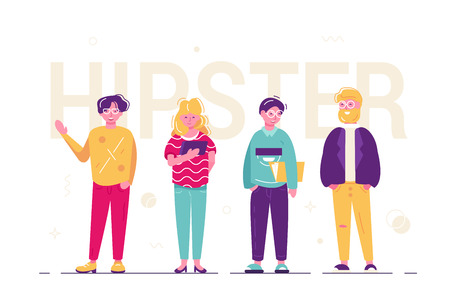 Hipster people standing together vector illustration. Fashionable men and woman dressed in trendy clothes flat style concept. Urban citizen characters