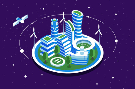 Futuristic space city vector illustration building with windmill. Modern methods of energy elaboration flat style concept. Sky with stars and satellite on background