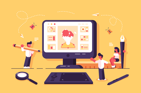 Web specialists working in design studio vector illustration. Team of people creating social networking app with profile. Office employees showing creativity. Teamwork concept 版權商用圖片 - 123912385