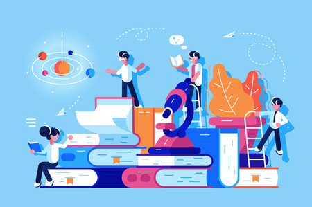 People in educational process vector illustration. Boys and girls standing near pile of books and microscope. Students reading studying and searching information flat style concept Ilustração
