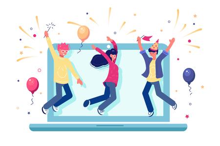 Squadra che celebra il completamento con successo dell'illustrazione vettoriale del progetto internet. Cartoon sorridente persone con palloncini e scintillii. Design piatto atmosfera gioiosa. Concetto di lavoro di squadra. Isolato su bianco Vettoriali