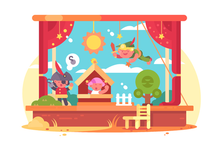 Performance children on scene vector illustration. Boys and girl playing in piece about pirate flat style concept. Art kids entertaiment concept. Theatre stage interior