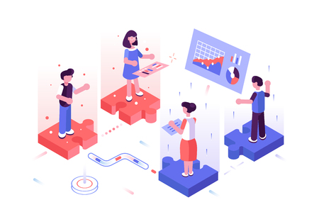 Team discussing new project vector illustration. Men and women standing on puzzle and communicate with each other flat style concept. Workers searching for best solutions which respect all opinions Illusztráció