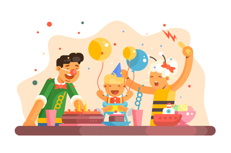 Funny children party vector illustration. Cheerful family celebrating kids birth. Little boy with balloons enjoy torte and sweets. Festive table with beverages flat style. Happy childhood concept 일러스트