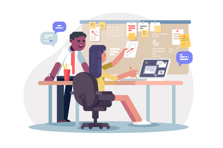 Colleagues scheduling work process vector illustration. Man and woman planning together operations agenda and working environment flat style concept. Office interior Illustration