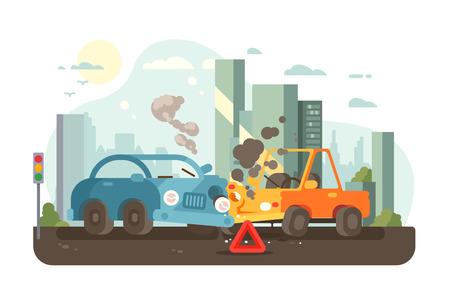 Road traffic accident scene Vektoros illusztráció
