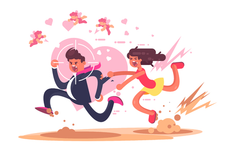 Chasing after love vector illustration. Mad woman running after man in hope to find amour flat style design. Gun aim pointed at male showing inevitability of boy destiny. Will catch you concept