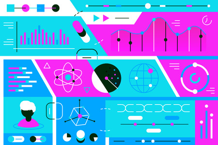Statistics data vector illustration. Composition consists of colorful graphs, charts and diagrams flat style design. Comparative characteristics concept