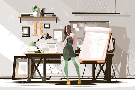 Girl architect working on project vector illustration. Hardworking woman drawing new plan and holding cup with hot coffee flat style concept. Studio interior