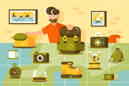Tourist going hiking vector illustration. Young bearded man standing near country map. Boy putting various important trip equipment in camping backpack flat style design. Traveling concept