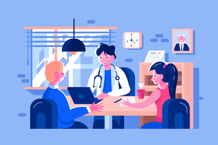 Doctor examined patients vector illustration. Family doc consults man and woman flat style design. People sign declaration with therapist. Cabinet interior, white uniform healthcare concept