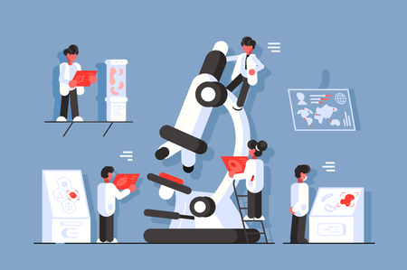 Doctors with microscope in laboratory vector illustration. Genetic scientists research dangerous disease flat style design. Healthcare concept. Scholars study different illnesses across the globe