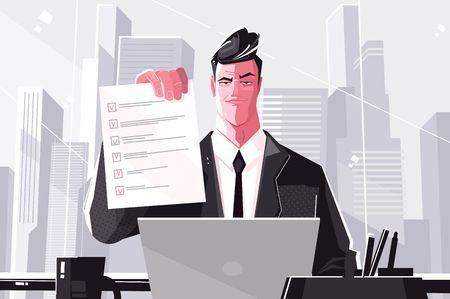 Modulo compilato uomo d'affari sicuro. Illustrazione vettoriale. Uomo in tuta seduto dietro un tavolo personale in stile piatto. Concetto di realizzazione aziendale
