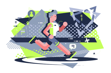 Scamper on training vector illustration. Athletic man in sport uniform and footwear jogging flat style design. Well-built male running to be in shape. Healthy lifestyle concept