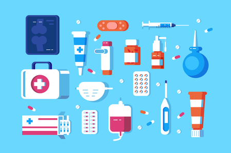 Satz medizinischer Zubehörvektorillustration. Verschiedene Krankenhausräume bestehen aus Pillen, Spritze, Hygienemaske und Einlaufvektorillustration im flachen Stil. Gesundheitskonzept Vektorgrafik