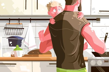 Single father with kid. Lonely dad cooking delicious meal for happy looking child vector illustration. Caring man holding only boy flat style design. Hard parenting lifestyle concept Stock fotó - 123522739