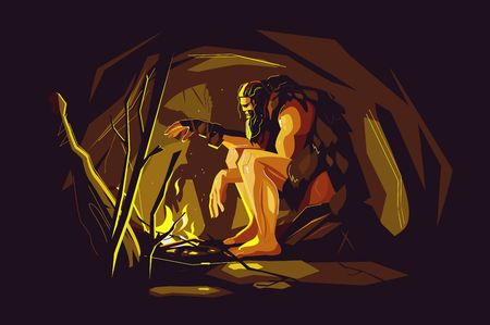 Wild caveman sitting near bonfire Illustration