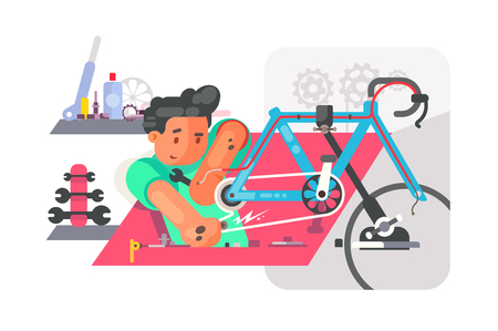 Bicycle repair service. Boy fixing bike and using special equipment and tools. Technician enjoy vamping broken vehicles vector illustration flat style concept