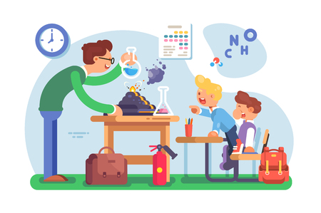 Chemistry lesson in classroom vector illustration. Teacher explaining new material to pupils and making interesting experiments with chemical agent flat style concept. Schoolroom interior Illustration
