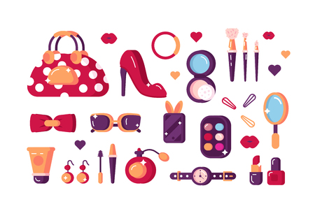 Set of womens accessories vector illustration. Various creams and cosmetics glasses, eyelashes brush, powder box with miniature mirror to help stay pretty flat style concept. Isolated on white Illustration