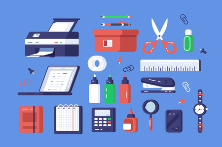 Set of various stationery vector illustration. Different chancellery tools include printer, classical watches, scissors and stapler flat style design. Office elements concept. Isolated on blue Illustration
