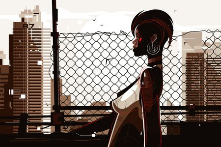 Pretty african american woman vector illustration. Stylish shortcut lady with unusual appearance and perfect slim figure standing outdoors flat style concept. Cityscape background Çizim