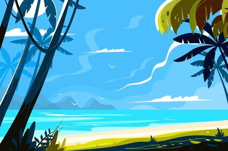 Hemelse plaats landschap vectorillustratie. Pittoresk uitzicht op het eiland met tropische palmbomen en zeegolven op een zonnig achtergrondontwerp in vlakke stijl. Paradijs strand. Zomer vakantie concept Vector Illustratie