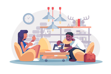 Coworking office work vector illustration. Afro-american man demonstrating to woman tablet app. Girl showing ok symbol flat style concept. Two colleagues working together Ilustração