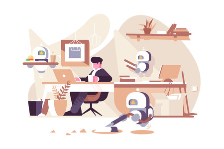 Robots working in office vector illustration. Man sitting at workplace with laptop and bionic persons cleaner waiter and assistent flat style design. New robotic technologies concept