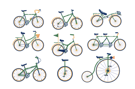 Different types of bicycles set Çizim