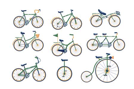 Verschiedene Arten von Fahrrädern Set