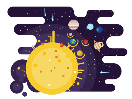 Solar system flat style Stock Photo