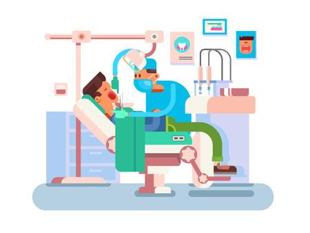 Dentist treats a patient