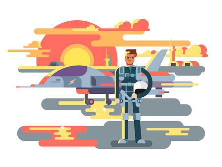 Military pilot man 版權商用圖片