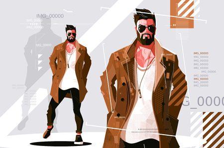 Stylowy facet w ilustracji wektorowych płaszcz. Brodaty modny mężczyzna w ciemnych okularach przeciwsłonecznych i modne ubrania w stylu casual. Koncepcja modelu mody