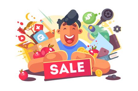 Black friday sale vector illustration. Happy cartoon shopaholic man holding many purchases flat style design. Seasonal discount concept. Isolated on white