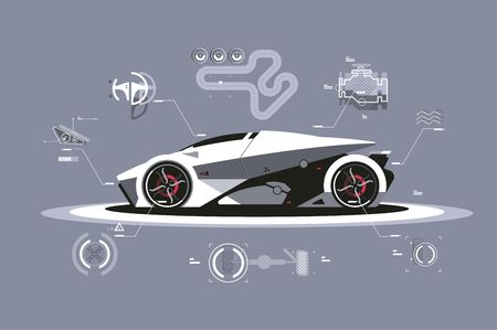 Modern car technology Иллюстрация