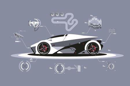 Modern car technology Illustration