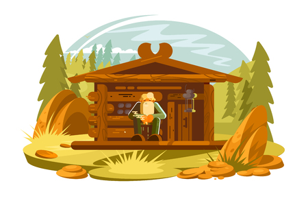 Forester sitting on porch vector illustration. Cartoon old man with gray beard near wooden forest house flat style concept. Picturesque pinewood landscape Illustration