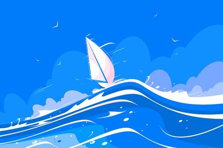 White sailing yacht vector illustration. Pleasure boat floating on sea waves flat style concept. Nautical worldwide yachting or travelling promotion. Blue sky on background