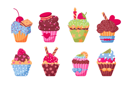 Different delicious muffins set vector illustration. Collection consists of tasty cupcakes with fruits candies festive candles flat style design. Date of birth and holidays concept. Isolated on white