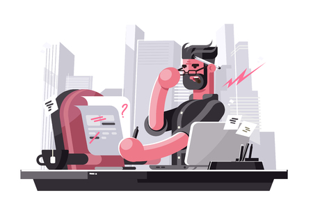 Angry art director vector illustration. Evil boss sitting at workplace in office and correcting mistakes in text flat style concept. Creative man dissatisfied with work of subordinates Ilustrace