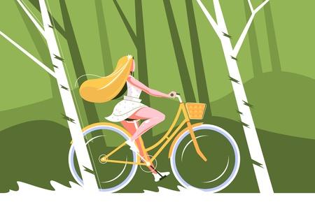 Cute girl riding bike