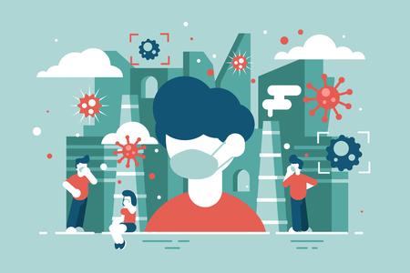 Virus ataca a personas ilustración vectorial. Hombres y mujeres con máscara médica para evitar el concepto de estilo plano de infección. Población durante epidemia de enfermedad