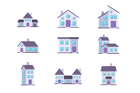 Different buildings houses residential facade set. Stock Photo