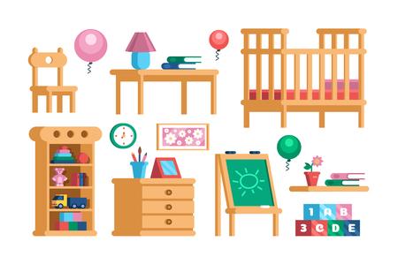 Set childrens room interior furniture collection Stockfoto - 125094716