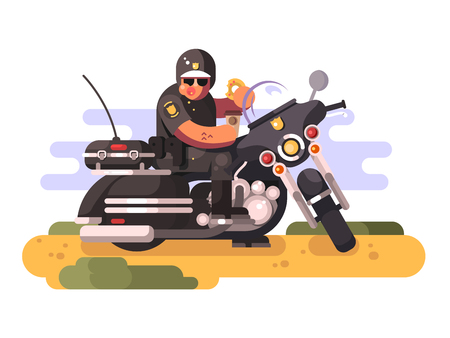 Police officer with donut and coffee on motorcycle Stock Photo